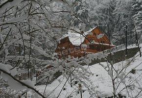 Alpejski Dwór w zimowej, baśniowej scenerii.
