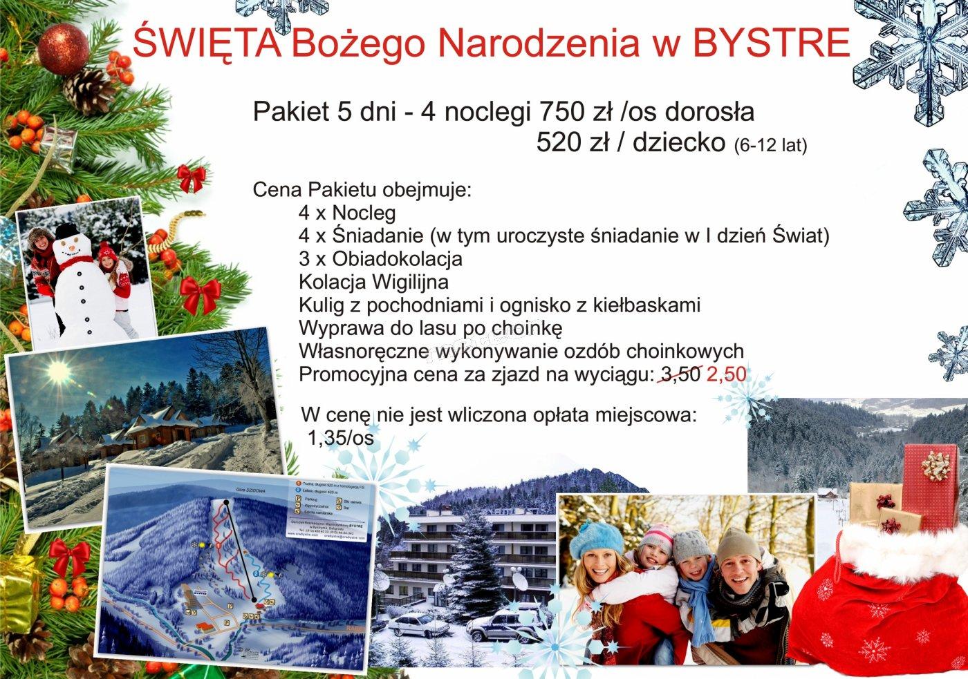 Święta Bożego Narodzenia w Bieszczadach (realizacja pakietu powyżej dokonanych rezerwacji w sumie dla 40 os)